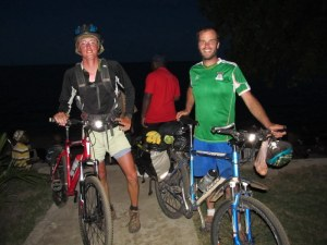 Jesse and I at lake Bangwelu Saturday night after riding 219 kilometers